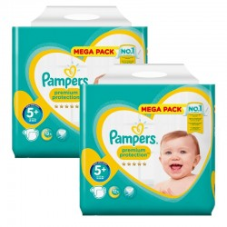 Mega Pack 256 Couches Pampers Premium Protection - New Baby taille 5+ sur 123 Couches