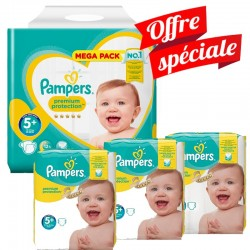 Maxi Giga Pack 416 Couches Pampers Premium Protection - New Baby taille 5+