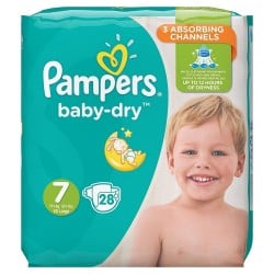 Pack 28 Couches Pampers Baby Dry taille 7 sur 123 Couches