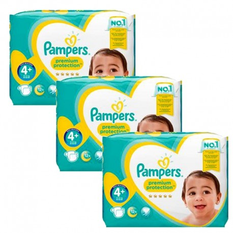 Giga Pack 186 Couches Pampers Premium Protection - New Baby taille 4+ sur 123 Couches