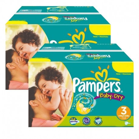 Mega Pack Jumeaux 408 Couches Pampers Baby Dry taille 3 sur 123 Couches