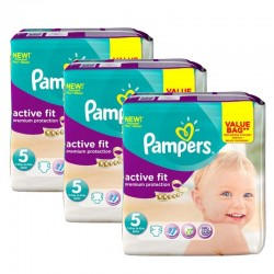 Mega Pack 276 Couches Pampers Active Fit taille 5 sur 123 Couches