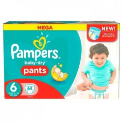 Pack 64 Couches Pampers Baby Dry Pants taille 6 sur 123 Couches