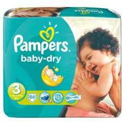 Pack 34 Couches Pampers Baby Dry taille 3 sur 123 Couches