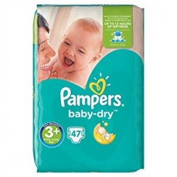 Pack 47 Couches Pampers Baby Dry taille 3+ sur 123 Couches