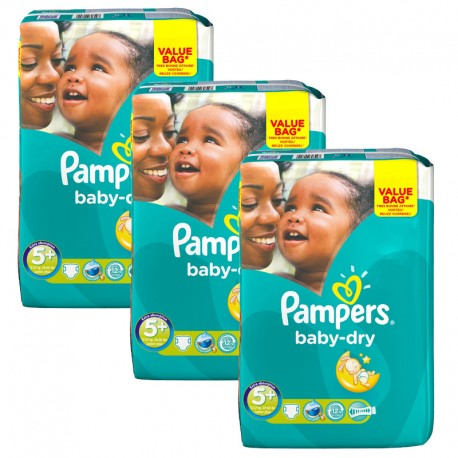 Giga Pack 168 Couches Pampers Baby Dry taille 5+ sur 123 Couches