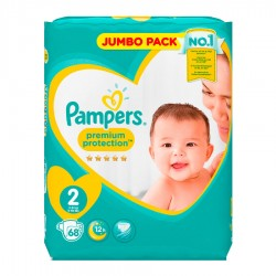 Pack 68 Couches Pampers New Baby Premium Protection taille 2 sur 123 Couches