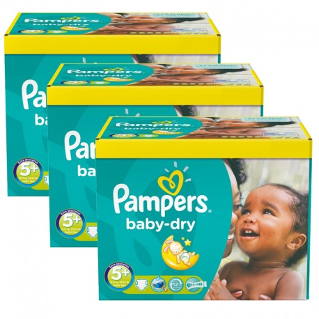 Maxi Pack 308 Couches Pampers Baby Dry taille 5+ sur 123 Couches