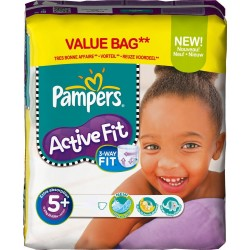 Pack 42 Couches Pampers Active Fit taille 5+ sur 123 Couches