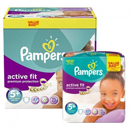 Maxi Pack 288 Couches Pampers Active Fit - Premium Protection taille 5+ sur 123 Couches