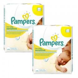 Maxi Pack 56 Lingettes Bébés Pampers Sensitive Baby - 3 Packs de 56 sur 123 Couches