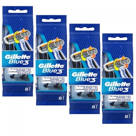 Lot de 4 Packs Gillette Blue3 Rasoirs Jetables 8 pc.Edition Football sur 123 Couches