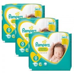 Giga Pack 72 Couches Pampers New Baby Premium Protection taille 0