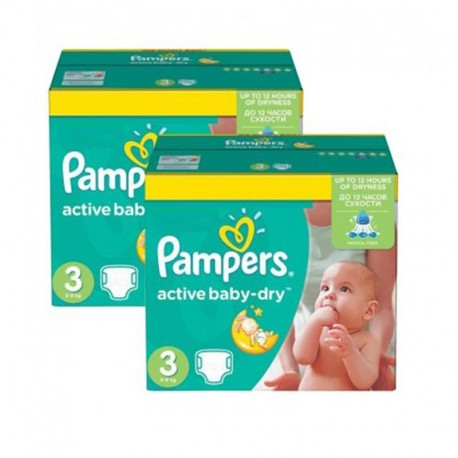 Pack 108 Couches Pampers Active Baby Dry taille 3 sur 123 Couches