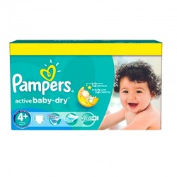 Pack 96 Couches Pampers Active Baby Dry taille 4+ sur 123 Couches