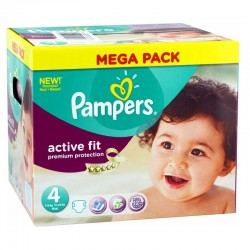 Pack 168 Couches Pampers Active Fit - Premium Protection taille 4 sur 123 Couches
