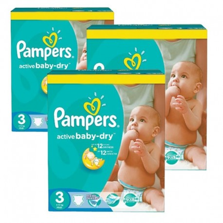 Giga Pack 216 Couches Pampers Active Baby Dry taille 3 sur 123 Couches
