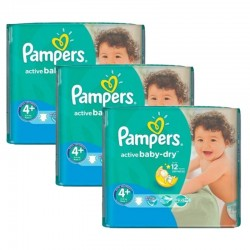 Mega Pack 192 Couches Pampers Active Baby Dry taille 4+ sur 123 Couches