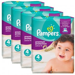 Mega Pack 336 Couches Pampers Active Fit - Premium Protection taille 4 sur 123 Couches