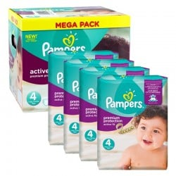 Mega Pack 504 Couches Pampers Active Fit Premium Protection taille 4 sur 123 Couches