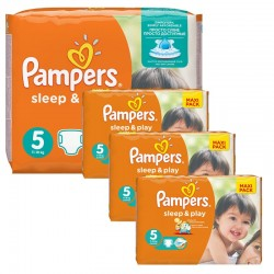 Maxi Pack 252 Couches Pampers Sleep & Play taille 5 sur 123 Couches