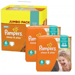 Giga Pack 150 Couches Pampers Sleep & Play taille 6