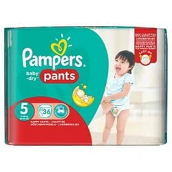 Pack 36 Couches Pampers Baby Dry Pants taille 5 sur 123 Couches