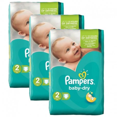 126 Couches Pampers Baby Dry taille 2 sur 123 Couches