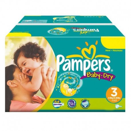 Maxi Pack 374 Couches Pampers Baby Dry taille 3 sur 123 Couches