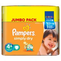 Pack 240 Couches Pampers Simply Dry taille 4+ sur 123 Couches