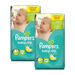 Mega Pack 112 Couches Pampers Baby Dry taille 4+ sur 123 Couches