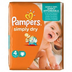 Pack 40 Couches Pampers Simply Dry taille 4 sur 123 Couches