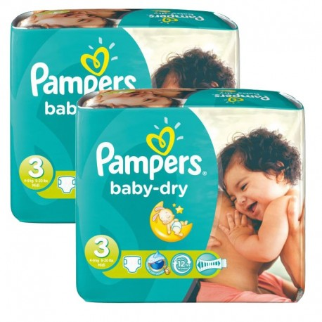 102 Couches Pampers Baby Dry taille 3 sur 123 Couches
