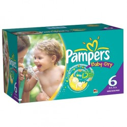 Maxi Pack 84 Couches Pampers Baby Dry de taille 6 sur 123 Couches