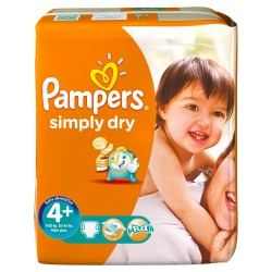 Pack 24 Couches Pampers Simply Dry taille 4+ sur 123 Couches