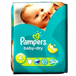 Pack 64 Couches Pampers Baby Dry taille 2 sur 123 Couches
