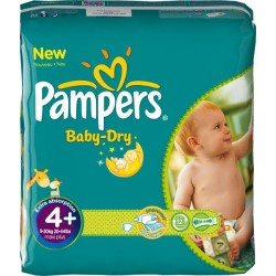 Pack 50 Couches Pampers Baby Dry taille 4+ sur 123 Couches