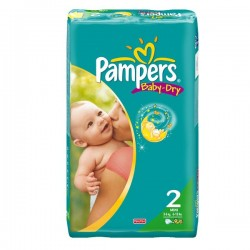 Pack 52 Couches Pampers Baby Dry de taille 2 sur 123 Couches