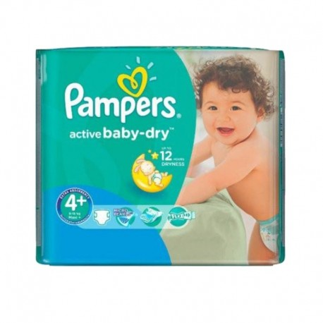 Pack 70 Couches Pampers Active Baby Dry taille 4+ sur 123 Couches