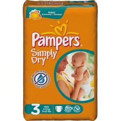 Pack de 96 Couches de la marque Pampers Simply Dry taille 3 sur 123 Couches