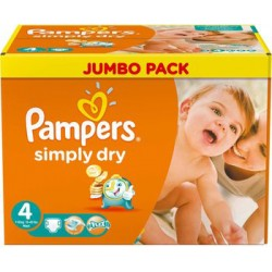 Pack économique 220 Couches Pampers Simply Dry taille 4 sur 123 Couches