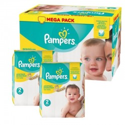 Mega Pack 198 Couches Pampers new baby - premium protection taille 2 sur 123 Couches