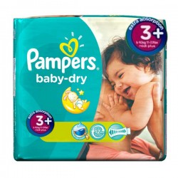 Pack 111 Couches Pampers Baby Dry taille 3+ sur 123 Couches