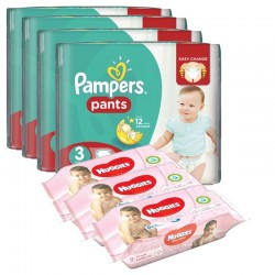 Pack bébé propre 390 Couches Pampers Baby Dry Pants T3 + 560 Lingettes Huggies Soft Skin sur 123 Couches