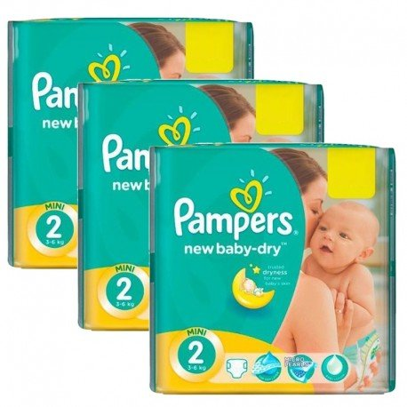 Mega Pack 129 Couches Pampers New Baby Dry taille 2 sur 123 Couches