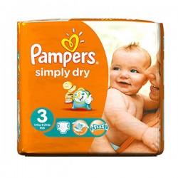 Pack d'une quantité de 45 Couches Pampers de la gamme Simply Dry taille 3 sur 123 Couches
