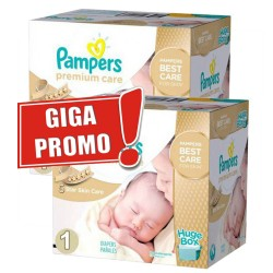 Pack jumeaux 704 Couches Pampers Premium Care taille 1