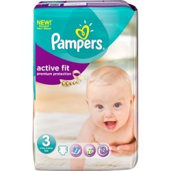 Pack 60 Couches Pampers Active Fit taille 3 sur 123 Couches