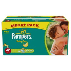 Giga pack 287 Couches Pampers Baby Dry taille 4+ sur 123 Couches