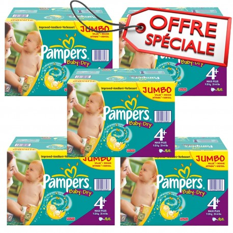 Maxi mega pack 410 Couches Pampers Baby Dry taille 4+ sur 123 Couches